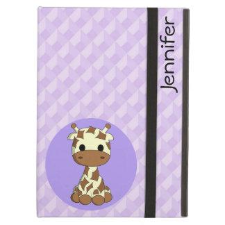 Cute baby giraffe kawaii cartoon name girls iPad air cover