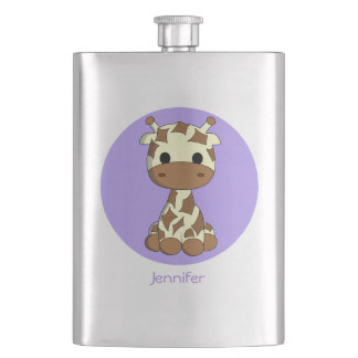 Cute baby giraffe kawaii cartoon name kids flas flask