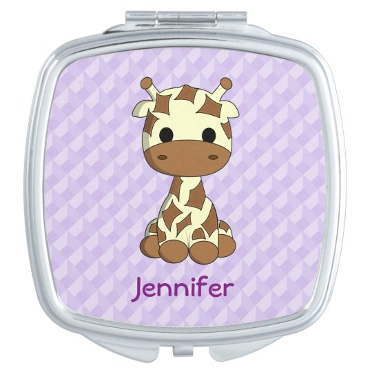 Cute baby giraffe kawaii cartoon name mirror compact