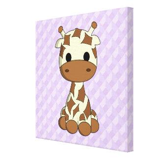 Cute baby giraffe kawaii cartoon nursery canvas canvas print