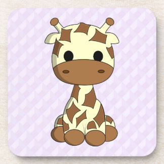 Cute baby giraffe kawaii cartoon purple kids coasters