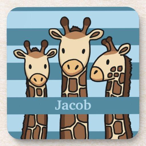 Cute Baby Giraffe Trio, Add Child's Name Beverage Coaster