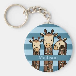 Cute Baby Giraffe Trio, Add Child's Name Key Ring
