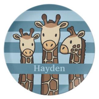Cute Baby Giraffe Trio, Add Child's Name Party Plates