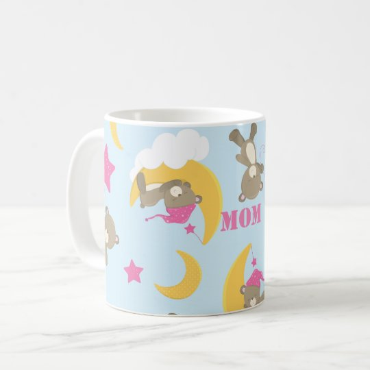Cute Baby Girl Bear Pattern Print Personalised Coffee
