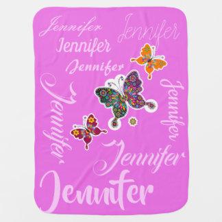 Cute Baby Girl Butterflies and custom name Baby Blanket