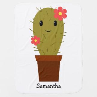 Cute baby girl cactus baby blanket
