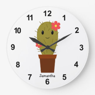 Cute baby girl cactus large clock