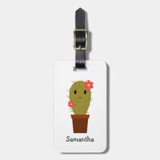 Cute baby girl cactus luggage tag