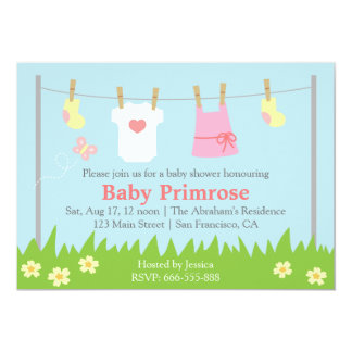 Cute Baby Girl Clothes Baby Shower 13 Cm X 18 Cm Invitation Card