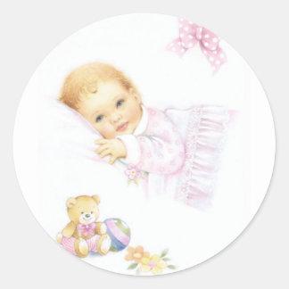 Cute baby girl design classic round sticker