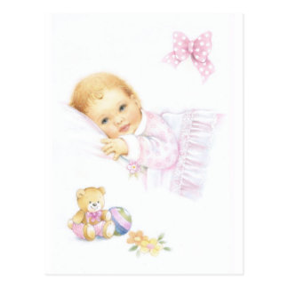 Cute baby girl design postcards