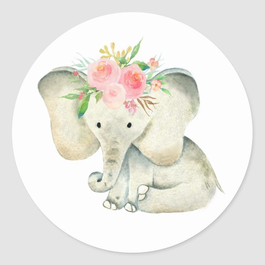 Cute Baby Girl Elephant with Flowers Classic Round