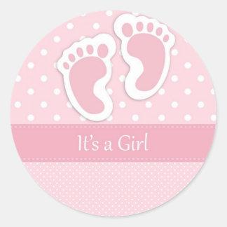 Cute Baby Girl Footprints Adorable Pattern Shower Round Sticker