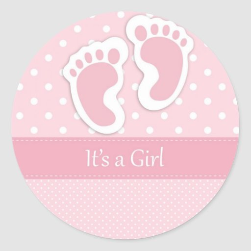 Cute Baby Girl Footprints Adorable Pattern Shower Stickers