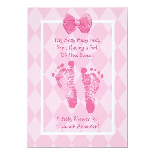 Cute Baby Girl Footprints Baby Shower Pink Ribbon Card