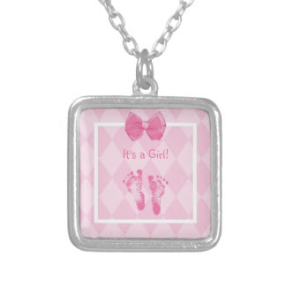 Cute Baby Girl Footprints Birth Announcement Silver Plated Necklace