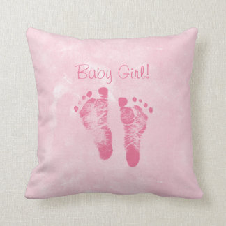 Cute Baby Girl Footprints Birth Announcement Throw Pillow