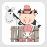 Cute Baby Girl & Horse Pony Custom Western Square Stickers