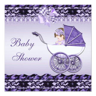 Cute Baby Girl in Purple Carriage Baby Shower Personalized Invitation