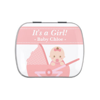 Cute Baby Girl in Stroller Party Keepsake Candy Tins