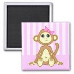 Cute Baby Girl Monkey Cartoon Magnet