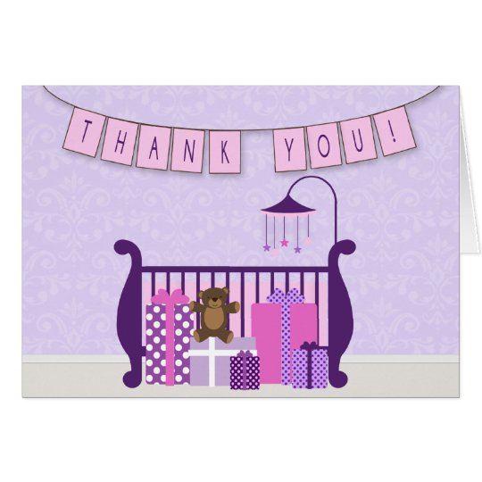 Cute Baby Girl Nursery Thank You Note Card