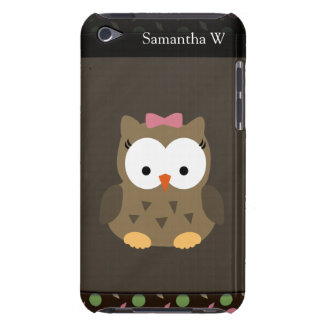 Cute Baby Girl Owl, Pink/Green/Brown Barely There iPod Cover