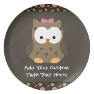 Cute Baby Girl Owl, Pink/Green/Brown Plate