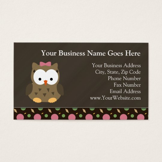 Cute Baby Girl Owl with Pink Bow Business