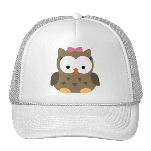 Cute Baby Girl Owl with Pink Bow Hat