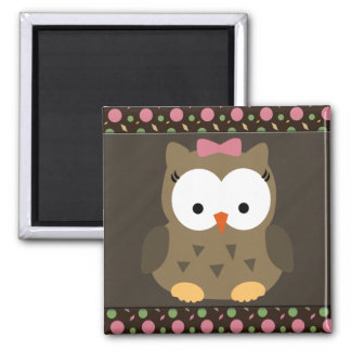 Cute Baby Girl Owl with Pink Bow Fridge Magnet