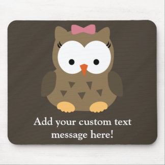 Cute Baby Girl Owl with Pink Bow Mouse Pad