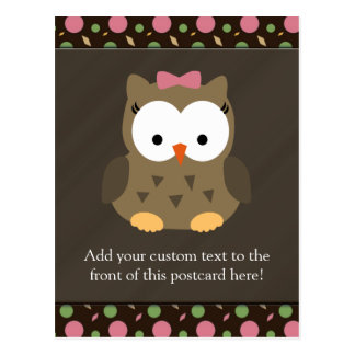 Cute Baby Girl Owl with Pink Bow Postcards
