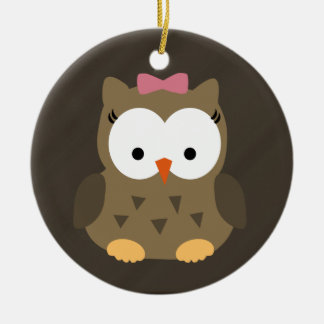 Cute Baby Girl Owl with Pink Bow Round Ceramic Decoration