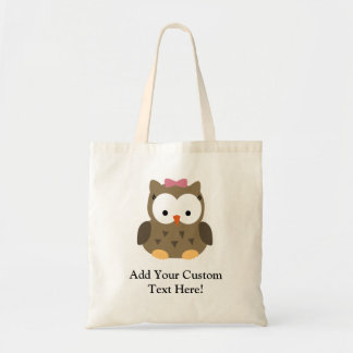 Cute Baby Girl Owl with Pink Bow Budget Tote Bag