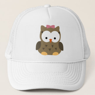 Cute Baby Girl Owl with Pink Bow Trucker Hat