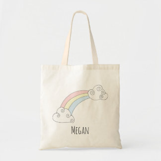 Cute Baby Girl Rainbow Doodle with Name Diaper Tote Bag