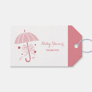 Cute Baby Girl Shower Pink Umbrella Thank You Gift Tags
