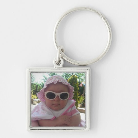 Cute Baby Girl Silver-Colored Square Key Ring