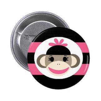 Cute Baby Girl Sock Monkey Black Pink Stripes 6 Cm Round Badge