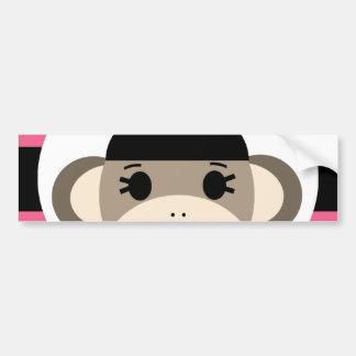 Cute Baby Girl Sock Monkey Black Pink Stripes Bumper Sticker