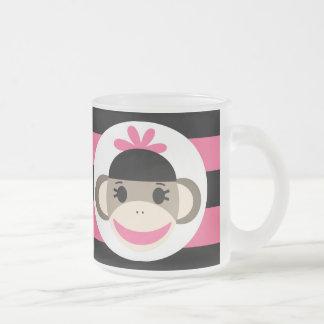 Cute Baby Girl Sock Monkey Black Pink Stripes Mug
