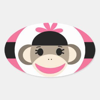 Cute Baby Girl Sock Monkey Black Pink Stripes Oval Sticker