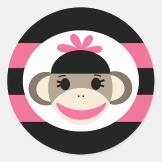 Cute Baby Girl Sock Monkey Black Pink Stripes Round Sticker