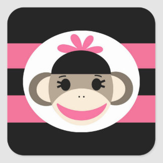 Cute Baby Girl Sock Monkey Black Pink Stripes Square Sticker