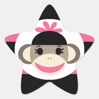 Cute Baby Girl Sock Monkey Black Pink Stripes Star Sticker