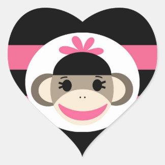 Cute Baby Girl Sock Monkey Black Pink Stripes Heart Sticker