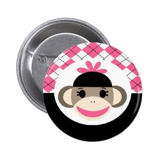 Cute Baby Girl Sock Monkey Pink Black Argyle 6 Cm Round Badge