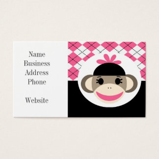Cute Baby Girl Sock Monkey Pink Black Argyle Business Card